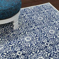 Ornate medallion rug in royal blue.