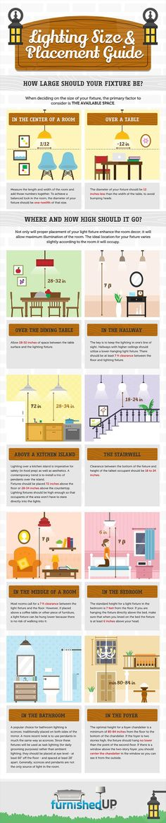 Practical Lighting Size&Placement Guide for Every Corner of the House [Infographic How to hang lighting, a practical guide to measurements. Very good to know for hanging light fixtures. Kitchen Lighting, Home Lighting, Bathroom Lighting, Lighting Ideas, Interior Lighting, Ceiling Lighting, Pendant Lighting, Lighting Shops, Club Lighting