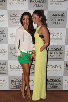 Hotties and the pout - Kareena poses with her best friend Amrita Arora's elder sister Malaika at Lakme Fashion Week, Winter/Festive 2013 (IE Photo: Varinder Chawla)