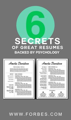 Forbes article by Jon Youshaei 6 Secrets of Great Resumes, Backed By Psychology Brought to you by Resume Foundry - professional resume templates https://www.etsy.com/ca/shop/ResumeFoundry