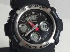 Casio G Shock Digital Analog Black Shock Resist Mens Watch AW590-1A New #Casio