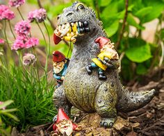 Godzilla the terrifying T-Rex Dinosaur has a taste for gnomes and is a great defender of your lawn, garden, or yard. Trespassers will think twice about stepping FOOT in your garden with this great dinosaur gnome eating statue! Gnome Statues, Garden Statues, Lawn Ornaments, Garden Ornament, Gnome Garden, Herb Garden, Fairies Garden, Garden Whimsy, Moon Garden