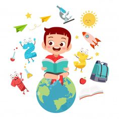 Happy kid reads books on the world globe Premium Vector