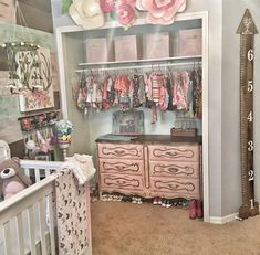 Chalk Painted Dresser Makeover French Provincial Glam Pallet Wall Dresser in closet Paper flowers Magnolia's Nursery Baby Bedroom, Baby Room Decor, Nursery Room, Girl Nursery, Girls Bedroom, Baby Rooms, Bedrooms, Nursery Inspiration, Nursery Ideas