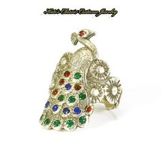 Peacock Figural Ring – Art Deco – Sterling Silver – Rhinestones – 1920s/1930s