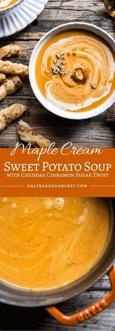Maple Cream Sweet Potato Soup with Cheddar Cinnamon Sugar Twist - simple, fast & so good! Perfect soup for your holiday table or Thanksgiving.
