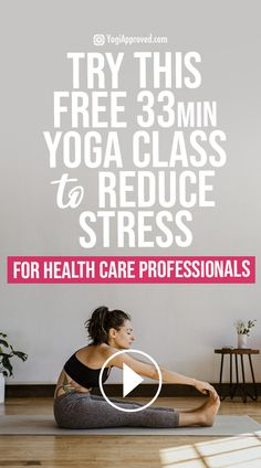 Free Yoga Class: Yoga for Nurses   Healthcare Workers to Reduce Stress Reduce Stress, How To Relieve Stress, Yoga For Nurses, Health And Wellness, Health Care, Health Goals, Flexibility Workout, Exercise Cardio, Free Yoga Classes