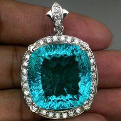 PARAIBA BLUE GREEN APATITE CONCAVE MAIN STONE 55 CT. SAPPHIRE 925 SILVER PENDANT #Handmade #Pendant