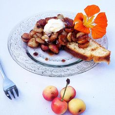 """Day 184 -  * Le temps des cerises *  Pan seared cherry with coconut oil, honey and a dash of apple juice over a slice of brioche (soaked with the """"cherry caramel"""")  #PardonMaisCestTropBon #AmIDreaming #CheatMeal #PanSeared #cherry #FromTheGarden #honey #coconutoil #AppleJuice #vegan #caramel #brioche #slice #crèmefraiche #sourcream #nasturtium #flower #HeavenInAPlate  #ItsNotBeansItsCherries !"""