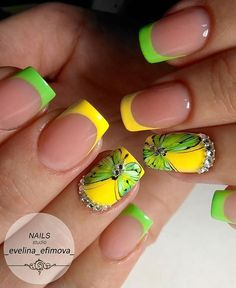40 - Nail art designs in different colors for you - 1 If you want to make a difference, we offer you nail designs. These nail designs will show you di. French Nail Art, French Tip Nails, Nail Art Designs, Butterfly Nail Art, Butterfly Design, Chameleon Nails, Hot Nails, Dream Nails, Spring Nails