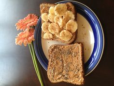 PB toast - one w chia seeds // one w banana & cinna