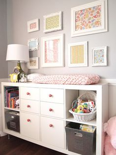 nurseries - gray walls white changing table pink pulls olive green lamp industrial bins  cape27blog.com