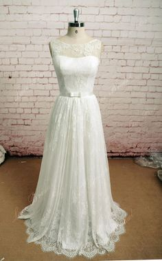 Soft Lace Style Bridal Gown sleeveless Wedding Dress by LaceBridal