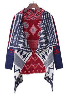 Multicolor Geometric Print Turndown Collar Thick Cotton Blend Sweater