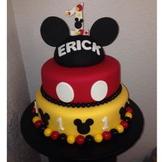Mickey Mouse Cake for a 1st birthday party! #MickeyMouse #cakes #ideas #mickey…