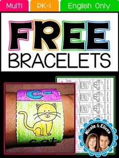 FREE  Try using learning bracelets with your students - they're a fun and easy alternative to crowns and headband!  Literacy & Math Learning Bracelets from Nicole and Eliceo