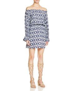 Aqua Geometric Print Off-The-Shoulder Dress