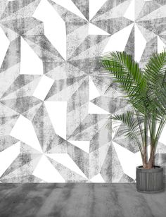'Patina XL Monochrome' A giant geometric 3-d distressed mural in black and white.