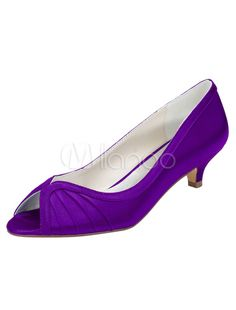 b5ded47c2e4 Blue Bridal Shoes Peep Toe Kitten Heel Pumps Women s Pleated Slip-On  Elegant Evening Shoes