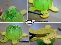 DIY Turtle Toys from Recycled Plastic Bottles. HAVE FUN !  How to--> http://wonderfuldiy.com/wonderful-diy-floating-turtle-family-from-bottlecap/