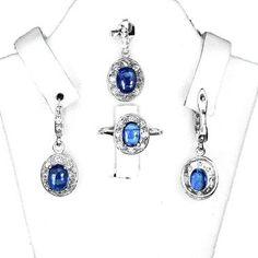 Parure Argent 925 Cyanite bleu. Pendentif +chaine, bague, boucles d'oreille