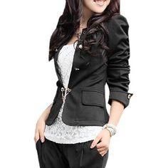 Allegra K Women Double Breasted Long Puff Sleeve Casual Blazer Coat Black