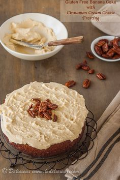 Gluten Free Banana Cake with Cinnamon Cream Cheese Frosting & Salted Honey Pecans | deliciouseveryday.com
