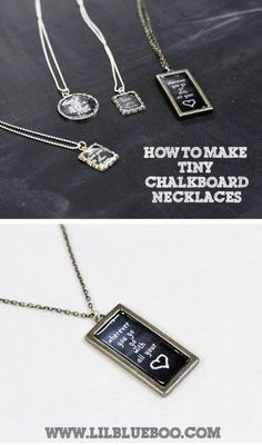 How to Make Chalkboard Necklaces (with Chalkboard Download) via lilblueboo.com