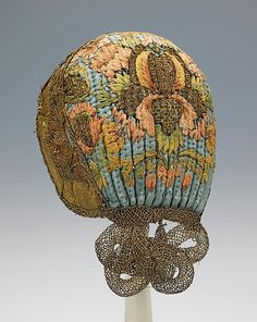 Cap, early 19th century, German. Silk, metal. Brooklyn Museum Costume Collection at The Metropolitan Museum of Art.