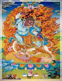 Dorje drolo tsog avec dharmapalas. Il est une des formes du Bouddha Padmasambhava dit Guru Rimpoché.