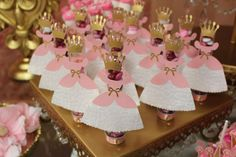 Princess dress favors at a princess birthday party! See more party planning ideas at CatchMyParty.com!