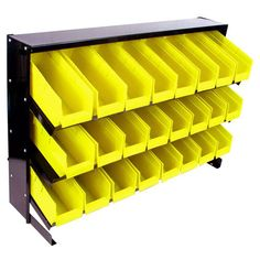 Yellow Bins Storage Rack....this would be great to organize toys for a little boy's room.