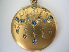 Antique Gold F Swirl Art Nouveau Chandelier Sapphire Blue Crystal Locket Pendant | eBay