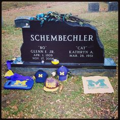 Standing in the shadow of a giant. I found the grave of Bo Shembeckler, the legendary University of Michigan football coach, at Forest Hills Cemetery. It looks like other visitors left him some memorabilia. Go Blue!