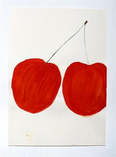 Rose Wylie / red cherries, 2013