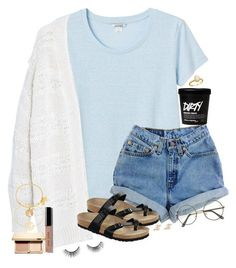""""" by southernstruttin ❤ liked on Polyvore featuring Monki, Violeta by Mango, Bobbi Brown Cosmetics, Levi's, Birkenstock, Sole Society, Clarins, K Kane, Alex and Ani and tarte"