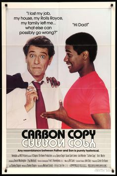 """Film: Carbon Copy (1981) Year poster printed: 1981 Country: USA Size (inches): 27"""" x 41"""" This is an original one-sheet movie poster from 1981 for Carbon Copy starring George Segal, Denzel Washington (in his first film), Susan Saint James and Jack Warden. Michael Schultz directed the comedy film. The poster measures 27""""x 41"""" is in very good to excellent condition with minor fold wear. Like most one-sheet posters printed before 1990, this poster was folded before being shipped to a movie…"""