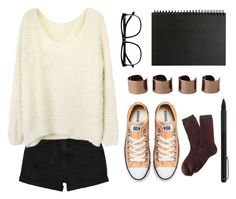 """College Student (Contest)"" by emc1397 ❤ liked on Polyvore featuring Monki, H&M, Muji, Maison Margiela, Converse, IDEA International and J.Crew"