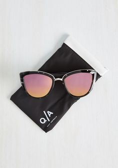 My Girl Sunglasses in Pink Lenses. People cant help but ask about your My Girl sunnies from Quay Australia every time you sport them with style! #black #modcloth