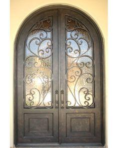 Wrought Iron Door: 6' x 9' Granada Round Top Double Door