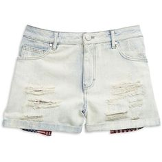 Tinsel Distressed Denim Shorts ($45) ❤ liked on Polyvore