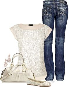 Sparkle & jeans-I love sparkles! Mode Outfits, Casual Outfits, Fashion Outfits, Womens Fashion, Casual Dressy, Summer Outfits, Classy Casual, Bar Outfits, Vegas Outfits