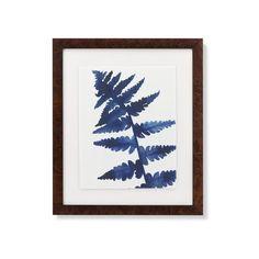 Williams-Sonoma Indigo Foliage Print ($225) ❤ liked on Polyvore featuring home, home decor, wall art, leaves wall art, leaf home decor, fern wall art, indigo home decor and italian wall art