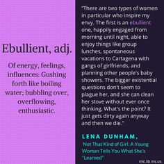 """Today's #wordoftheday, ebullient, comes from Lena Dunham's memoir Not That Kind of Girl: A Young Woman Tells You What She's """"Learned."""""""