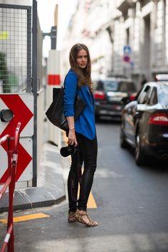 leather pants, cobalt, black, leopard