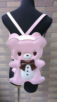 Cute-Kawaii-Gothic-Punk-visual-Rock-Teddy-Bear-handbag-backpack-4-Colors