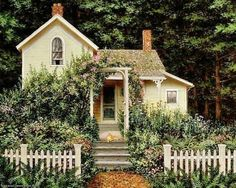 a cottage, yellow, green, brown, white