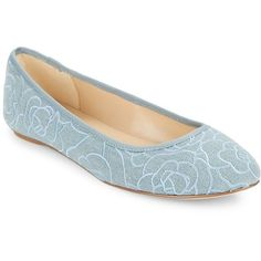 Karl Lagerfeld Paris Leroux7 Floral-Embroidered Denim Flats ($67) ❤ liked on Polyvore featuring shoes, flats, denim, ballet flat shoes, flat pumps, ballet flats, flat ballet pumps and ballet shoes