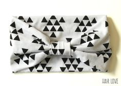 Geometric Triangles Turban Style Headband Made From Cotton Jersey Fabric. Head Wrap for Newborn, Infant, Baby, Toddler, Child Teen, Adult. by HairLoveShop on Etsy https://www.etsy.com/listing/207186793/geometric-triangles-turban-style