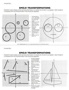 Transformations Practice Emojis Translate, Reflect, Rotate